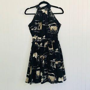 Zara navy halter dress with polo/golf pattern